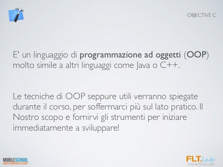 OBJECTIVE CE un linguaggio di programmazione ad oggetti (OOP)molto simile a altri linguaggi come Java o C++.Le tecniche di...
