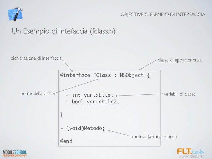 OBJECTIVE C: ESEMPIO DI INTERFACCIAUn Esempio di Intefaccia (fclass.h)dichiarazione di interfaccia                        ...