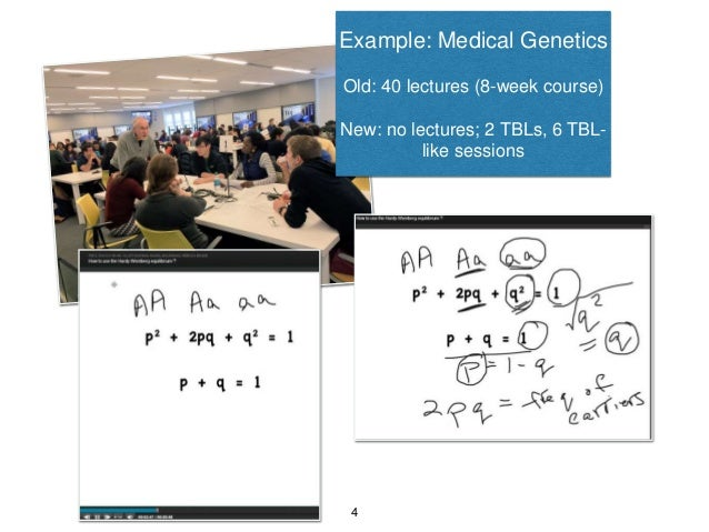 Example: Medical Genetics Old: 40 lectures (8-week course) New: no lectures; 2 TBLs, 6 TBL- like sessions 4