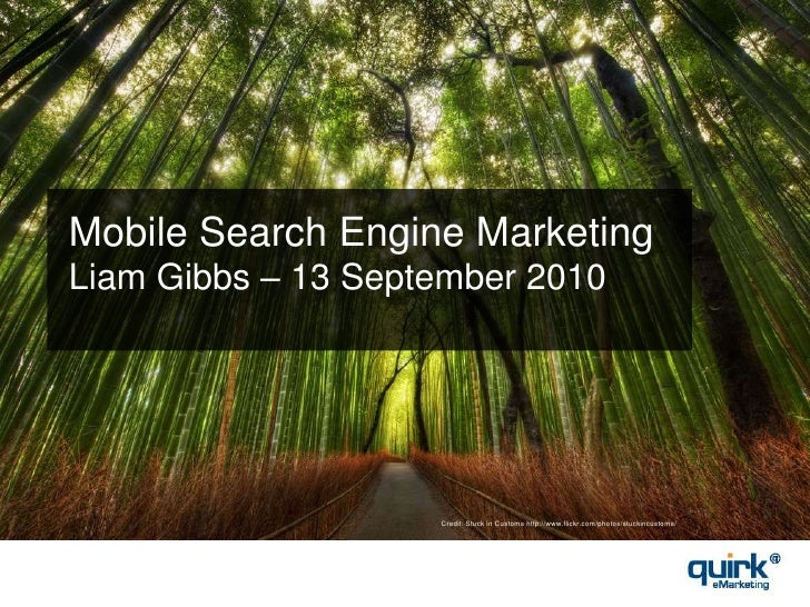 Mobile Search Engine MarketingLiam Gibbs – 13 September 2010<br />Credit: Stuck in Customs http://www.flickr.com/photos/st...