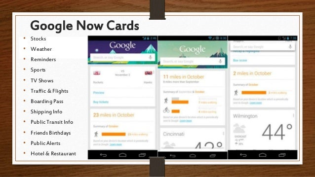 Google Now Cards • Stocks • Weather • Reminders • Sports • TV Shows • Traffic & Flights • Boarding Pass • Shipping Info • ...