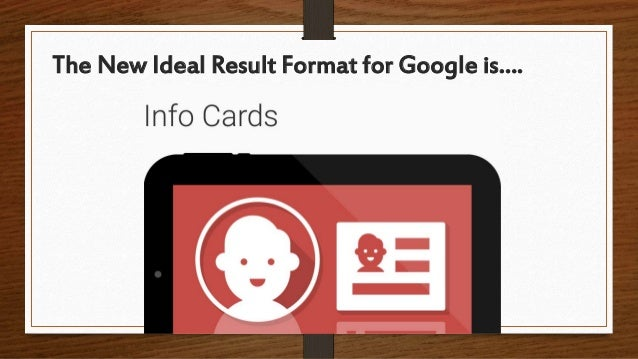 The New Ideal Result Format for Google is….