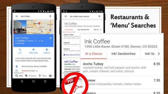 Restaurants & 'Menu' Searches