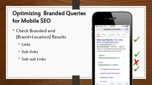 Optimizing Branded Queries for Mobile SEO • Check Branded and [Brand+Location] Results • Links • Sub-links • Sub-sub Links