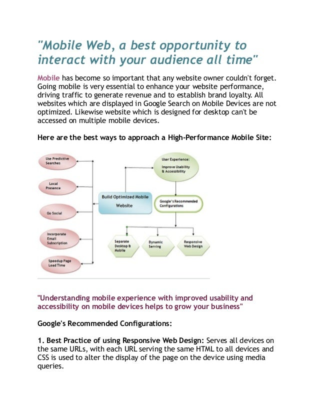 """Mobile Web, a best opportunity to interact with your audience all time"" Mobile has become so important that any website o..."