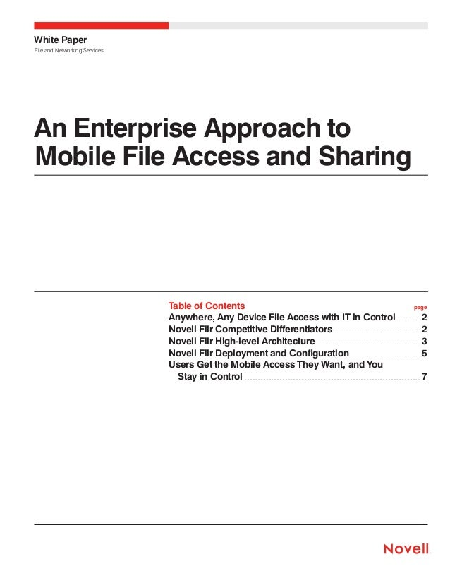 White Paper File and Networking Services  An Enterprise Approach to Mobile File Access and Sharing  Table of Contents pag...