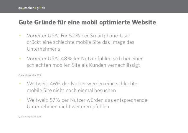 14  Gute Gründe für eine mobil optimierte Website ++ Vorreiter USA: Für 52% der Smartphone-User drückt eine schlechte mob...