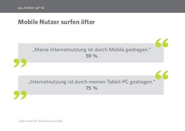 """9  Mobile Nutzer surfen öfter  """"Meine Internetnutzung ist durch Mobile gestiegen."""" 59 %  """"Internetnutzung ist durch meinen..."""