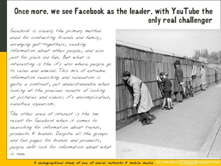 Once more, we see Facebook as the leader, with YouTube the                                         only real challenger Fa...