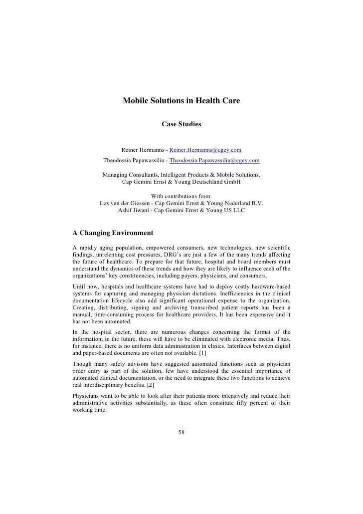 Mobile Solutions in Health Care                                       Case Studies                       Reiner Hermanns -...