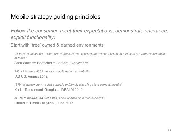 Mobile strategy guiding principles  33  Follow the consumer, meet their expectations, demonstrate relevance,  exploit func...