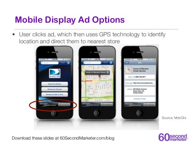 Mobile Display: Targeting Options• Custom audiences -- TV fans,  telecom switchers, business  travelers, etc.• Geographic ...