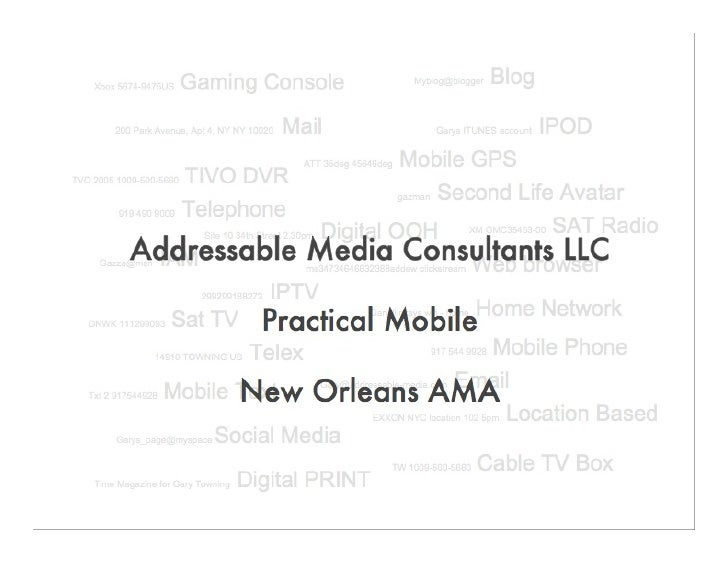 Addressable Media Consultants Founded in June 2007  To create marketing solutions that leverage the addressable connectivi...