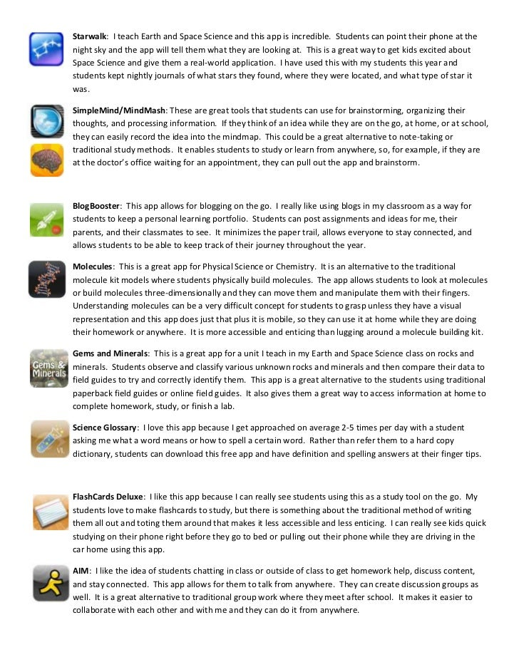 Mobile technology apps for middle school science