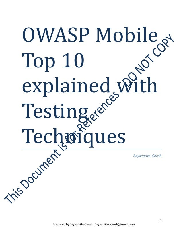 OWASP MobileTop 10explained withTestingTechniques                                                        Sayasmito Ghosh  ...