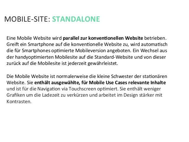Eine Mobile Website wird parallel zur konvenPonellen Website betrieben. Greia ein Smartphone auf ...