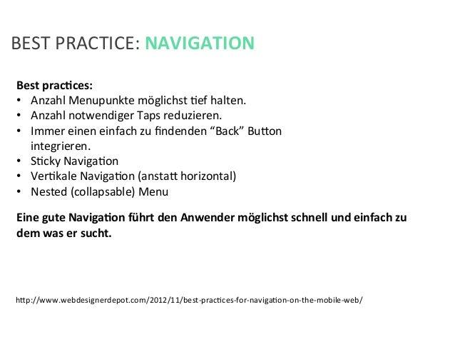 BEST PRACTICE: NAVIGATION Best pracPces:  • Anzahl Menupunkte möglichst Kef halten. • Anzahl not...