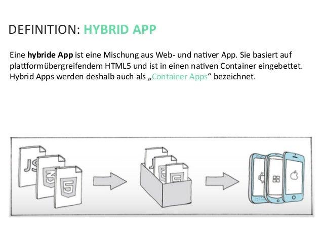 DEFINITION: HYBRID APP Eine hybride App ist eine Mischung aus Web-‐ und naKver App. Sie bas...