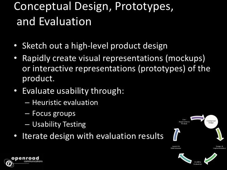 Conceptual Design, Prototypes, and Evaluation <br />Sketch out a high-level product design<br />Rapidly create visual repr...