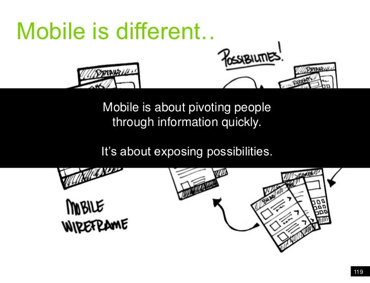 119<br />Mobile is different<br />Mobile is different….<br />Mobile is about pivoting people through information quickly.<...