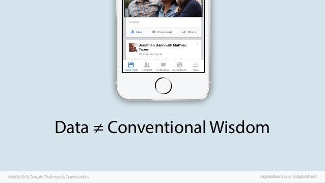 Data ≠ Conventional Wisdom Mobile UX & Growth: Challenges & Opportunities  digitalaltruist.com / @digitalaltruist