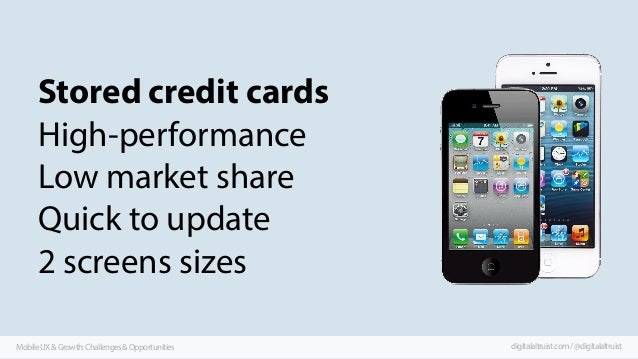 Stored credit cards High-performance Low market share Quick to update 2 screens sizes Mobile UX & Growth: Challenges & Opp...