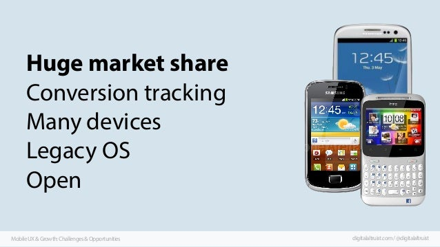 Huge market share Conversion tracking Many devices Legacy OS Open Mobile UX & Growth: Challenges & Opportunities  digitala...