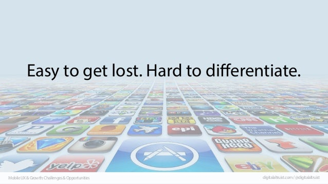 Easy to get lost. Hard to differentiate.  Mobile UX & Growth: Challenges & Opportunities  digitalaltruist.com / @digitalal...