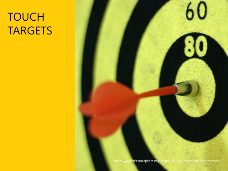 Finger-friendly design Go small by going big  ■ Small touch targets lead to big problems       Small touch targets make us...