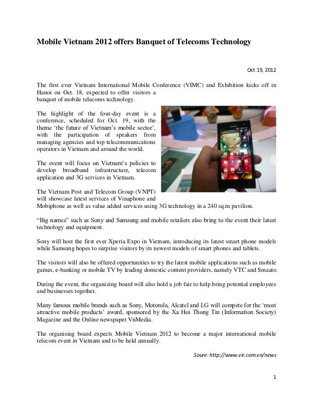 Mobile Vietnam 2012 offers Banquet of Telecoms Technology                                                                 ...