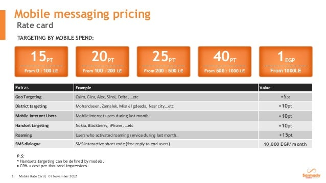 Mobile messaging pricing    Rate card     TARGETING BY MOBILE SPEND:             15       PT                       20     ...