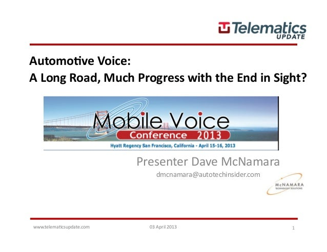 www.telema(csupdate.com	   03	  April	  2013	   1	  Automo&ve	  Voice:	  A	  Long	  Road,	  Much	  Progress	  with	  the	 ...