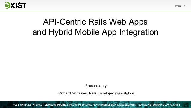 PAGE   1               API-Centric Rails Web Apps             and Hybrid Mobile App Integration                           ...