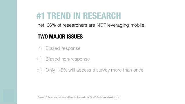 Yet, 36% of researchers are NOT leveraging mobile! TWO MAJOR ISSUES Biased response! Biased non-response! Only 1-5% will a...