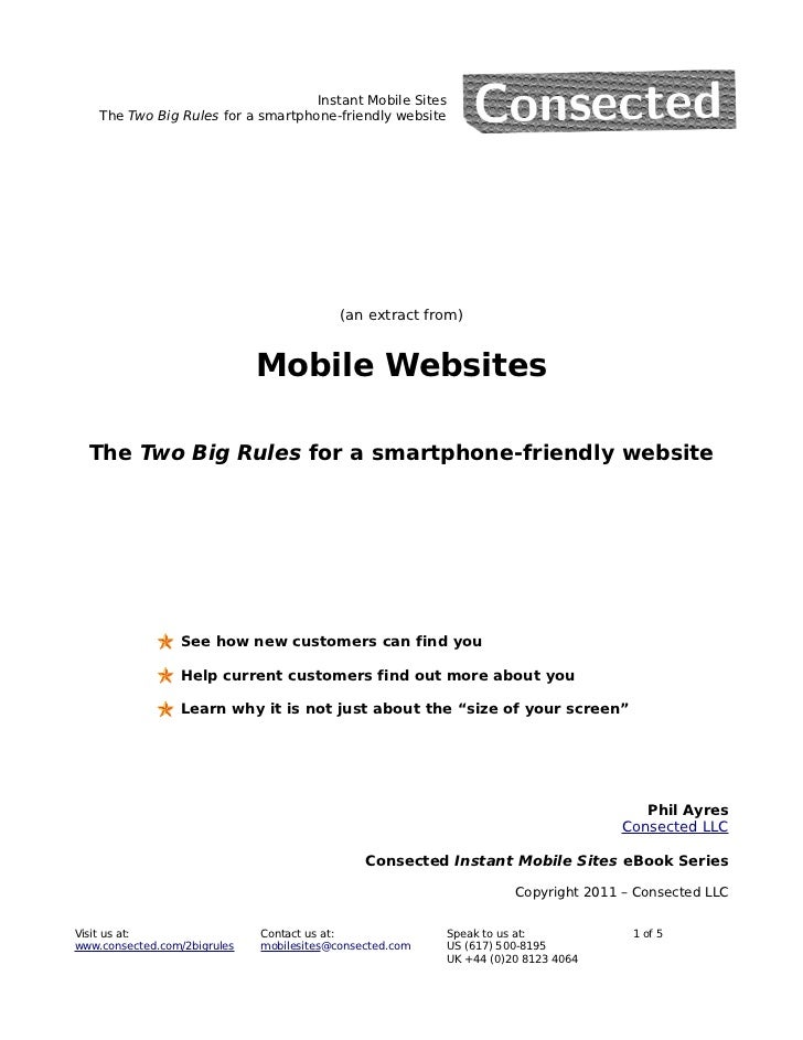 Instant Mobile Sites    The Two Big Rules for a smartphone-friendly website                                           (an ...