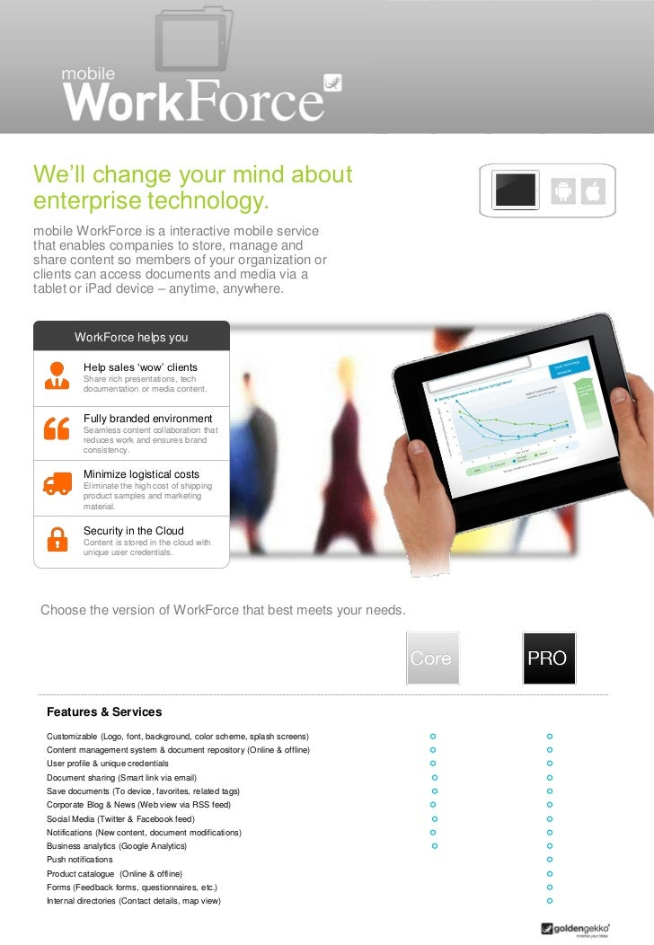 We'll change your mind aboutenterprise technology.mobile WorkForce is a interactive mobile servicethat enables companies t...