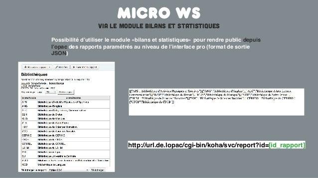 Micro wsVia le module bilans et statistiquesPossibilité d'utiliser le module «bilans et statistiques» pour rendre public d...