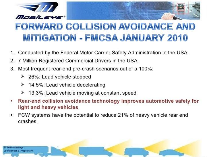 Mobileye effectiveness data for Federal motor carrier number