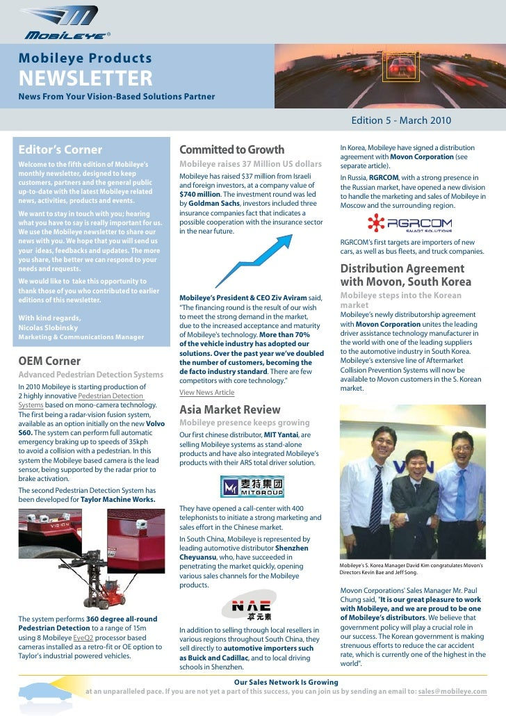 ®   Mobileye Products NEWSLETTER News From Your Vision-Based Solutions Partner                                            ...