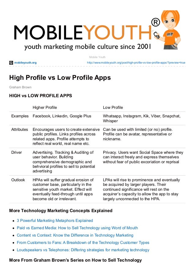 mobileyouth.org http://www.mobileyouth.org/post/high-profile-vs-low-profile-apps/?preview=true Graham Brown Mobile Youth H...