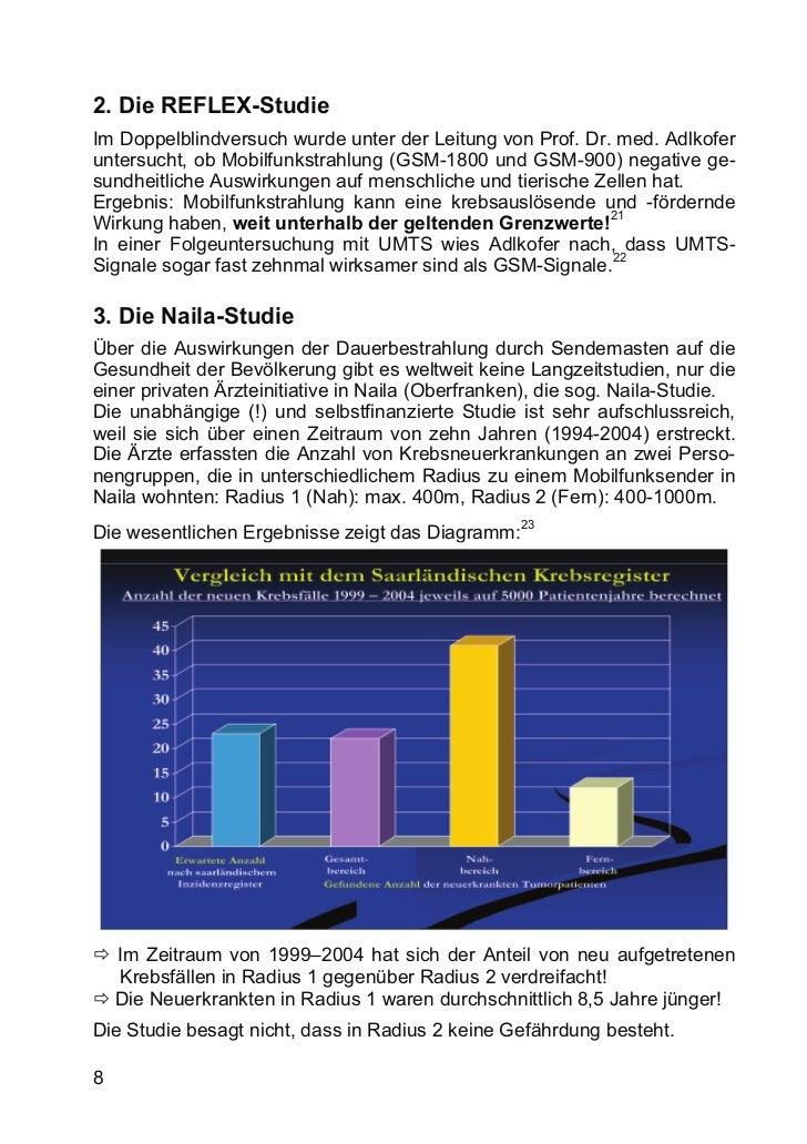 2. Die REFLEX-StudieIm Doppelblindversuch wurde unter der Leitung von Prof. Dr. med. Adlkoferuntersucht, ob Mobilfunkstrah...