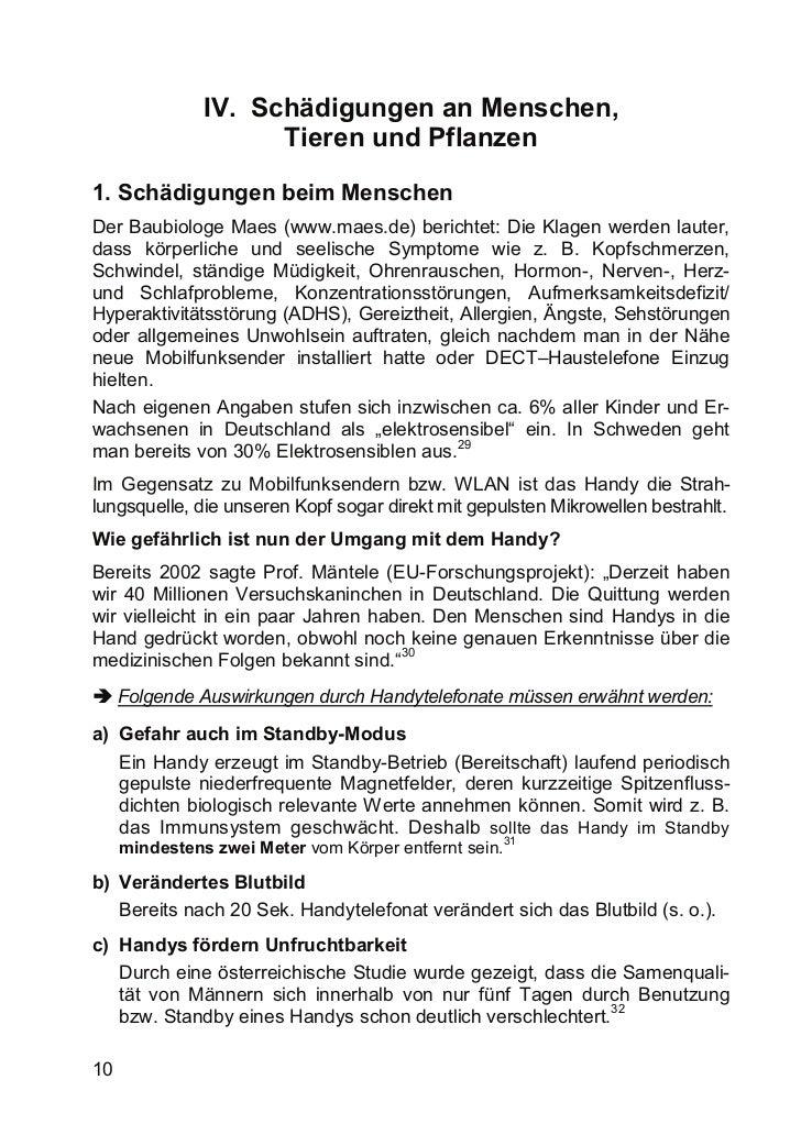 IV. Schädigungen an Menschen,                     Tieren und Pflanzen1. Schädigungen beim MenschenDer Baubiologe Maes (www...