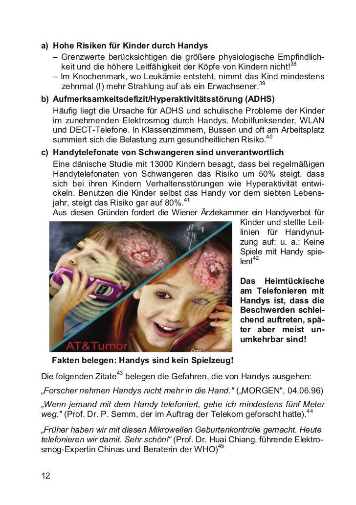 a) Hohe Risiken für Kinder durch Handys   – Grenzwerte berücksichtigen die größere physiologische Empfindlich-            ...