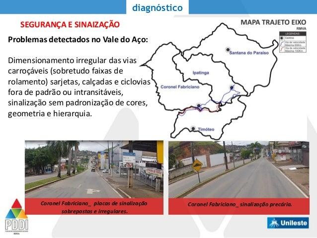 SEGURANÇA E SINAIZAÇÃO diagnóstico Problemas detectados no Vale do Aço: Dimensionamento irregular das vias carroçáveis (so...