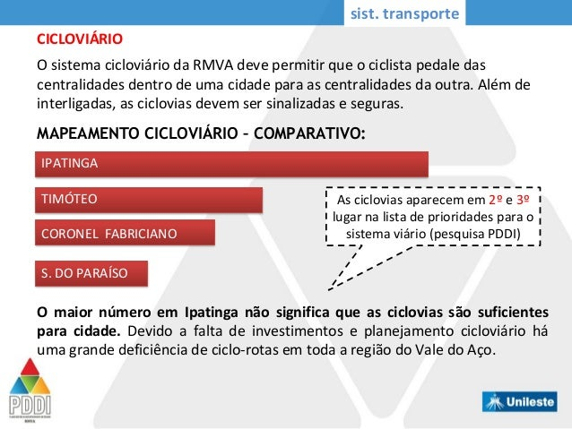MAPEAMENTO CICLOVIÁRIO – COMPARATIVO: IPATINGA TIMÓTEO CORONEL FABRICIANO S. DO PARAÍSO O maior número em Ipatinga não sig...