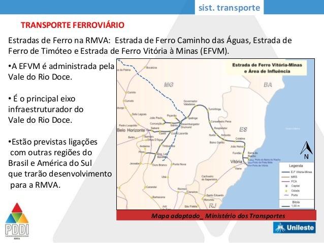 sist. transporte TRANSPORTE FERROVIÁRIO Estradas de Ferro na RMVA: Estrada de Ferro Caminho das Águas, Estrada de Ferro de...