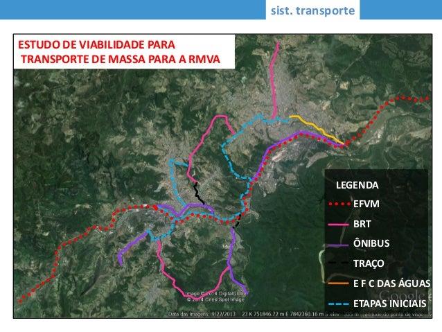 sist. transporte EFVM BRT ÔNIBUS TRAÇO E F C DAS ÁGUAS ETAPAS INICIAIS LEGENDA ESTUDO DE VIABILIDADE PARA TRANSPORTE DE MA...