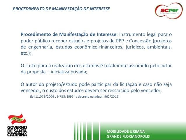 PROCEDIMENTO DE MANIFESTAÇÃO DE INTERESSE MOBILIDADE URBANA GRANDE FLORIANÓPOLIS Procedimento de Manifestação de Interesse...