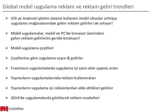 Mobil uygulamalar ve uygulamalardan elde edilen reklam gelirleri 2014 Slide 2