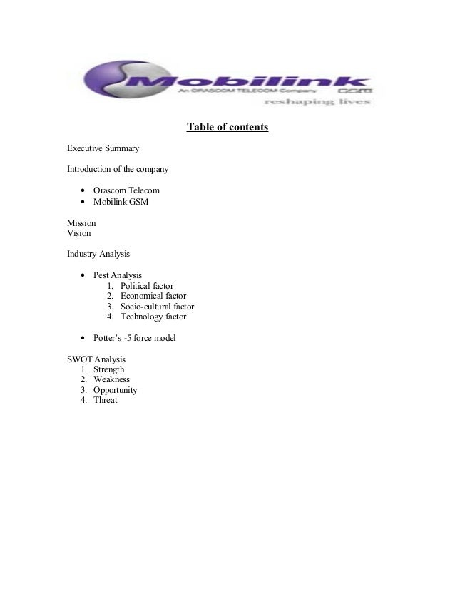 swot analysis of mobilink